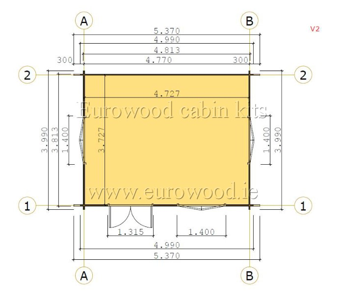 Log Cabin Rumus Plus 5x4m 20m 44mm Eurowood Log Cabins Wooden Summerhouses Timber Garages